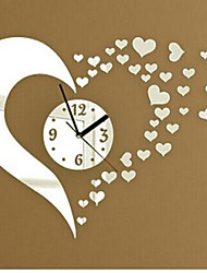 Недорогие -настенные часы наклейки наклейки на стены, мода 3d сердце зеркало акриловые наклейки на стены