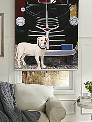 cheap -Oil Painting Style Dog & Car Roller Shade