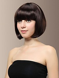 cheap -Synthetic Wig Straight Straight Bob With Bangs Wig Brown Dark Brown Natural Black Chestnut Brown Synthetic Hair 10 inch Women's With Bangs Black Brown