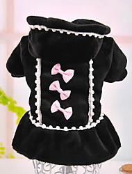 cheap -Dog Dress Dog Clothes Bowknot Pearl Black Pink Mixed Material Costume For Winter