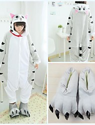 cheap -Adults' Kigurumi Pajamas with Slippers Cat Onesie Pajamas Coral fleece Gray Cosplay For Men and Women Animal Sleepwear Cartoon Festival / Holiday Costumes