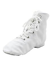 cheap -Women's Jazz Shoes Ballroom Shoes Boots Split Sole Flat Heel Black White Red Lace-up Kid's / EU43