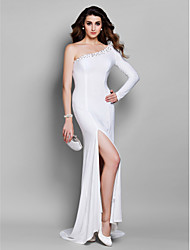 cheap -Mermaid / Trumpet Celebrity Style Elegant Formal Evening Dress One Shoulder Long Sleeve Court Train Jersey with Beading 2021