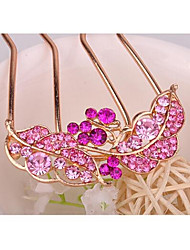 cheap -Hot Sale Leaf Shape Crystal Dish Hair Tool Hair Clips Random Color
