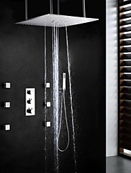 cheap -Shower Faucet Set - Handshower Included Thermostatic Rain Shower Contemporary Chrome Brass Valve Bath Shower Mixer Taps
