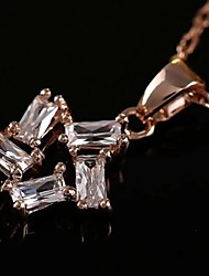cheap -Clear Cubic Zirconia Flower Gold Rose Gold Necklace Jewelry For Daily
