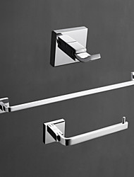 cheap -Brass Bathroom Accessory Set Contemporary Robe Hook, Towel Bar and Toilet Paper Holders Wall Mounted Chrome Household