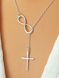 cheap -Women's Pendant Necklace Y Necklace Cross Infinity Bow Ladies Basic Simple Style Fashion Silver Plated Gold Plated Alloy Golden Silver Necklace Jewelry For Party Daily Casual Office & Career