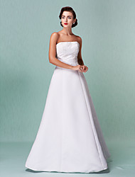cheap -A-Line Strapless Floor Length Lace Over Satin Strapless Open Back Made-To-Measure Wedding Dresses with Lace 2020