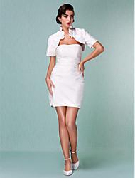 cheap -Sheath / Column Wedding Dresses Strapless Short / Mini Taffeta Short Sleeve Little White Dress with Ruched Ruffle 2020 / Yes