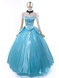 cheap -Princess Cinderella Fairytale Cosplay Costume Women's Movie Cosplay Vacation Dress Blue Dress Sleeves Necklace Christmas Halloween New Year Chiffon Faux Fur Satin / Headband / Headband