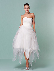 cheap -Ball Gown Wedding Dresses Sweetheart Neckline Asymmetrical Organza Strapless Little White Dress with Draping 2021