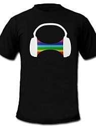 cheap -LED T-shirts Sound activated LED lights / Glow in the Dark Cotton Novelty 2 AAA Batteries / 1 LED T-Shirt