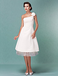 cheap -A-Line Wedding Dresses One Shoulder Knee Length Satin Tulle Spaghetti Strap Formal Casual Little White Dress with Flower 2021