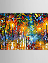 cheap -Oil Painting Paints Handmade Rain Street Landscape Modern Stretched Canvas With Stretched Frame