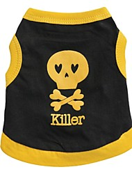 cheap -Cat Dog Shirt / T-Shirt Dog Clothes Breathable Black Black / Yellow Yellow Costume Cotton Heart Skull XS S M L