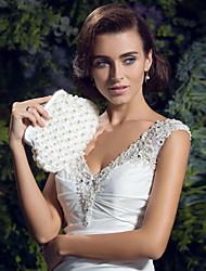 cheap -Women's Imitation Pearl Satin Evening Bag Ivory