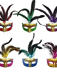 cheap -Beautiful Halloween Party Feather Mask of Coloured Drawing or Pattern