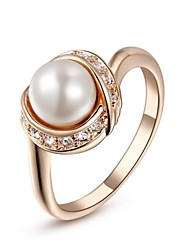 cheap -Women's Statement Ring Crystal Silver Golden Crystal Imitation Pearl Gold Plated Ladies Fashion Wedding Party Jewelry / Cubic Zirconia
