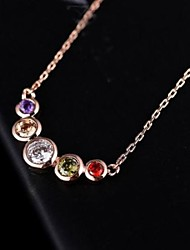 cheap -Purple Clear Green Cubic Zirconia Gold Rose Gold Necklace Jewelry For Daily
