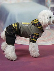 cheap -Dog Coat Plaid / Check Jeans Outdoor Winter Dog Clothes Puppy Clothes Dog Outfits Costume for Girl and Boy Dog Terylene Cotton XS S M L XL