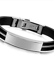 Недорогие -Муж. Браслет ID На заказ Мода Силикон Браслет Ювелирные изделия Черный Назначение Повседневные