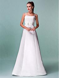 cheap -A-Line Wedding Dresses Square Neck Floor Length Satin Spaghetti Strap with Sash / Ribbon 2020