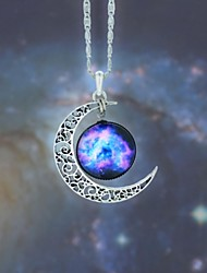 cheap -Women's Opal Pendant Necklace Long Necklace Engraved Moon Galaxy Crescent Moon Magic Ladies European Fashion Hippie Synthetic Gemstones Alloy Dark Blue / Fuchsia Black / Sky Blue Red / White Rainbow