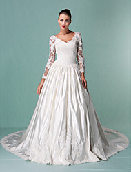 cheap -Ball Gown Wedding Dresses V Neck Cathedral Train Satin Tulle Long Sleeve with Beading Appliques 2021