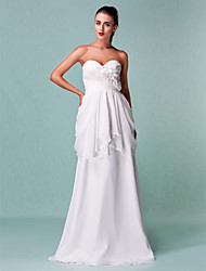 cheap -Sheath / Column Wedding Dresses Sweetheart Neckline Floor Length Chiffon Sleeveless with Flower Criss-Cross 2021
