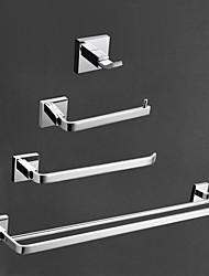 Недорогие -Набор аксессуаров для ванной Современный Латунь 4шт - Гостиничная ванна Держатели для туалетной бумаги / Robe Hook / распорка На стену