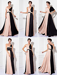 cheap -Sheath / Column Y Neck Floor Length Knit Color Block Cocktail Party / Prom / Formal Evening Dress with Sash / Ribbon / Pleats 2020