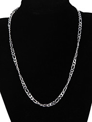 cheap -Chain Necklace Figaro Mariner Chain Unique Design Fashion Silver Plated Silver Necklace Jewelry For Christmas Gifts Party Gift Daily Casual