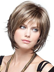 cheap -Synthetic Wig Wavy Wavy Bob With Bangs Wig Blonde Short Synthetic Hair 8 inch Women's Blonde