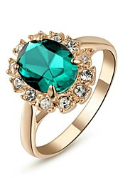 cheap -Women's Statement Ring Sapphire Synthetic Emerald Red Green Blue Crystal Gold Plated Imitation Diamond Ladies Classic Wedding Party Jewelry Solitaire Oval Cut Simulated Cocktail Ring / Cubic Zirconia