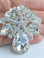 cheap -Women's Vintage Alloy Clear Rhinestone Crystal Starfish Bridal Brooch Wedding Jewelry