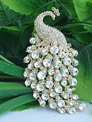 cheap -Crystal Brooches Peacock Vintage Party Casual Fashion Rhinestone Brooch Jewelry White For Wedding Party Special Occasion Anniversary Birthday Engagement