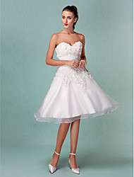 cheap -A-Line Wedding Dresses Sweetheart Neckline Knee Length Organza Satin Strapless Little White Dress with Ruched Flower 2020