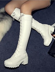 "cheap -Women's Chunky Heel / Block Heel Microfiber 18""-20""(Approx.45.72cm-50.8cm) / Knee High Boots Classic Fall / Winter Black / White / EU40"
