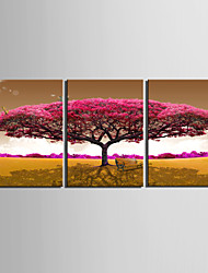 cheap -Print Rolled Canvas Prints - Floral / Botanical Modern Three Panels Art Prints
