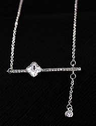 cheap -Clear Cubic Zirconia Silver Rose Gold Silver Necklace Jewelry For Daily