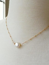 cheap -Women's Pendant Necklace Dainty European Simple Style Delicate Pearl Alloy Gold Necklace Jewelry For