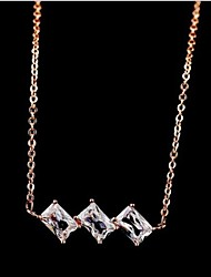 cheap -Clear Cubic Zirconia Silver Rose Gold Necklace Jewelry For Daily