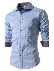 cheap -Men's Plus Size Plaid Print Slim Shirt Business Street chic Daily Work Spread Collar White / Dark Blue / Light Blue / Spring / Fall / Long Sleeve