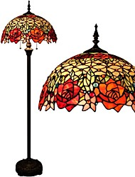 cheap -Tiffany Style Reading Floor Lamp Stained Glass with Double Rose Lampshade in 63 Inch Tall Antique Arched Base for Bedroom Living Room Table Set