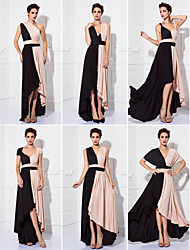 cheap -Sheath / Column V Neck Tea Length Knit Color Block Cocktail Party / Prom / Formal Evening Dress with Sash / Ribbon / Pleats 2020