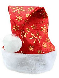 cheap -Unisex Adult's Golden Snowflakes Fluff Flat Edge Christmas Santa Hats