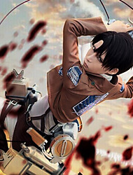cheap -Inspired by Attack on Titan levi ackerman Anime Cosplay Costumes Japanese Cosplay Suits Solid Colored Long Sleeve Cravat Coat Shirt For Men's Women's / Pants / Shawl / Strap / Badge / Anime Accessory