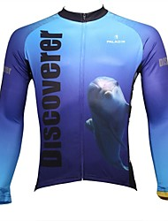 cheap -ILPALADINO Men's Long Sleeve Cycling Jersey Winter Fleece 100% Polyester White+Sky Blue Animal Bike Jersey Top Mountain Bike MTB Road Bike Cycling Breathable Quick Dry Ultraviolet Resistant Sports