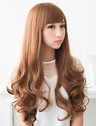 cheap -Synthetic Wig Style With Bangs Wig Brown Light Brown Synthetic Hair Women's Brown Wig